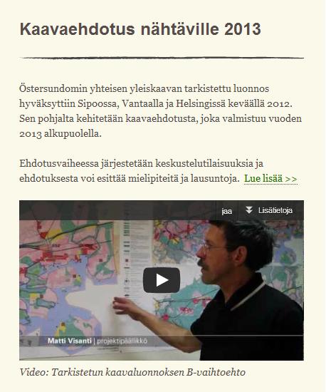 Östersundomin osayleiskaavaehdotuksen videoesittely netissä. Kuva Yhteinen Östersundom -sivustolta 8.1.2013.