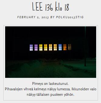 Maikku Huovilan ja Nina Sivénin taideteos LEE136 paikka- ja aikasidonnainen taideteos tekee näkyväksi taiteilijoiden ja nikkiläläisten toiveita. Kuva taideteoksen blogisivustolta polku2013stig.wordpress.com 3.2.2013.