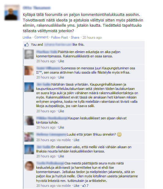 Lisää kaupunkia Helsinkiin -ryhmässä kyseltiin toiminnan vaikuttavuuden perään. Kuva ryhmän Facebook-sivulta 29.8.2013.