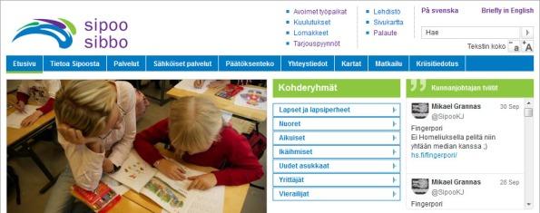 Sipoon kunnan etusivulle on nostettu kunnanjohtajan tviitit. Kuva sivustolta 1.10.2013, Sipoon kunta.