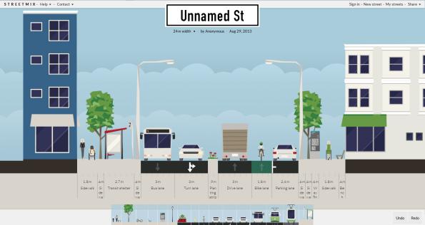 Streetmixin aloitusnäkymä. Kuva sivustolta streetmix.net 20.10.2013.