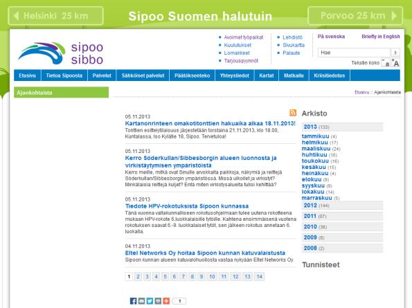 Sipoon kunnan sivuilta löytyy nykyisin myös arkistoidut uutiset. Kuva sivustolta 5.11.2013, Sipoon kunta.