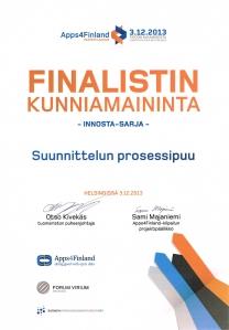 Apps4Finland-kilpailun kunniamaininta