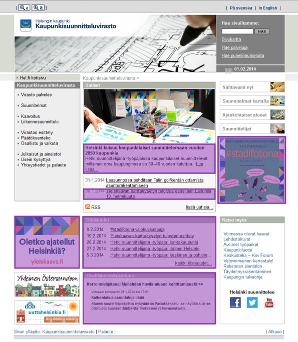 Epävirallinen osallistuminen Helsingin kaupunkisuunnitteluviraston etusivulla korostettu lilalla, kuva sivustolta www.hel.fi/ksv 2.2.2014.