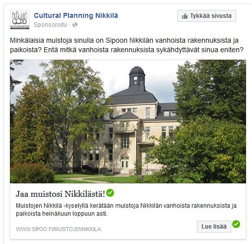 Muistojen Nikkilä -kyselyn mainos Facebookissa.